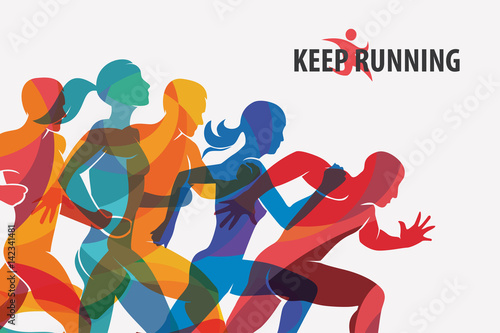 running people set of silhouettes, sport and activity  background - 142341481