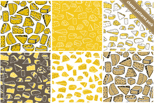 Set of six cheese seamless pattern. Cheese vector hand drawn texture