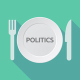 Long shadow tableware with  the text POLITICS - 142347073