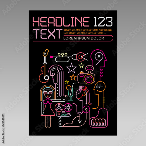Music party, vector template of magazine cover
