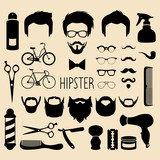 Fototapety Vector set of dress up with men hipster haircuts etc.in flat style.App man faces creator with hairdresser salon elements