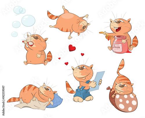 Papiers peints Chambre bébé Set of Cartoon Illustration. A Cute Cats for you Design