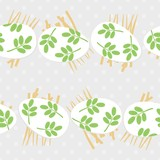 messy white eggs with green leaf motif horizontal rows on hay, vector Easter seamless pattern on light dotted background