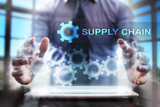 Businessman using tablet pc and selecting supply chain. - 142374824
