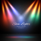 stage with colorful lights background - 142377476