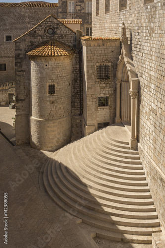 Baroque steep staircase in Old Town Dubrovnik view from City Walls Poster