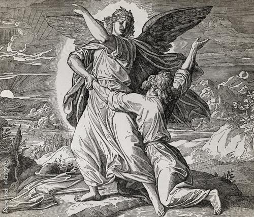 jakub-zmagajacy-sie-z-aniolem-bozym-graficzny-kolaz-z-grawerowania-nazarenskiej-szkoly-opublikowany-w-the-holy-bible-st-vojtech-publishing-trnava-slowacja-1937