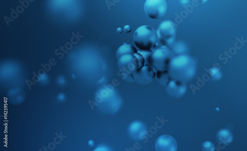 Abstract 3d rendering of chaotic spheres. Flying particles in empty space. Dynamic shape. Futuristic background with bokeh, depth of field effect. Design for poster, banner, placard.