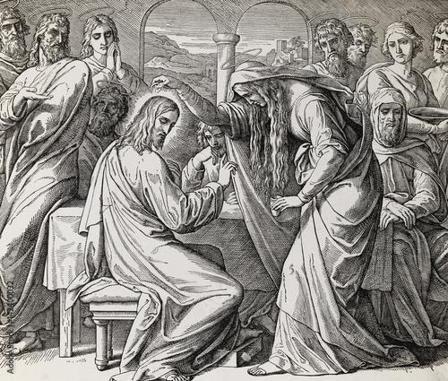 kobieta-w-bethany-namaszcza-jezusa-drogocennym-olejem-graficznym-kolazem-z-grawerowania-nazarenskiej-szkoly-opublikowanym-w-biblii-swietej-wydawnictwo-st-vojtech-trnava-slowacja-1937