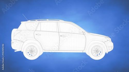 outlined 3d rendering of a car inside a blue studio