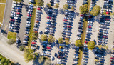 Aerial overhead view of big and crowded car parking - 142403627