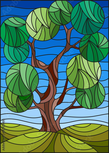 illustration-in-stained-glass-style-with-tree-on-sky-background