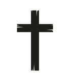 christian cross icon over white background. vector illustration
