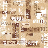 Coffee Themed Seamless pattern. Words, cups of coffee, and creative doodles. Beige and brown gamut. Abstract background for cafe or restaurant brand design.