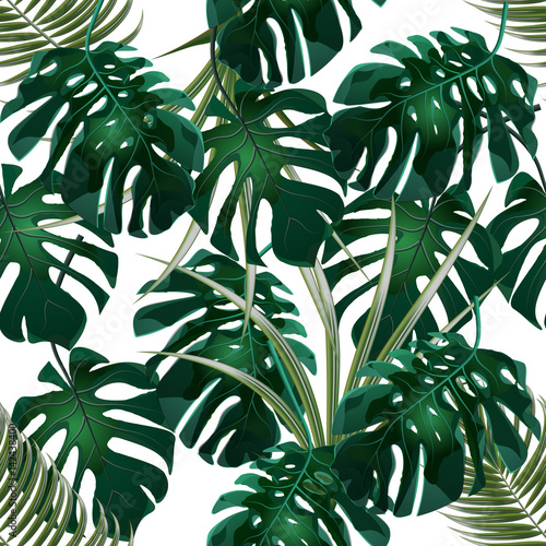 Cotton fabric Jungle. Green thickets of tropical palm leaves and monstera. Seamless floral pattern. Isolated on a white background. illustration