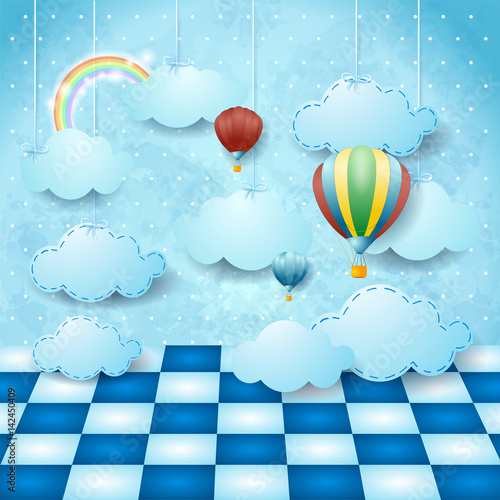 Aluminium Lichtblauw Surreal landscape with hanging clouds, balloons and floor