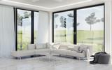 Modern interior design of living room, countryside - 142454032