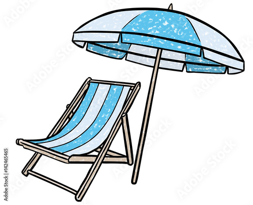 Liegestuhl mit sonnenschirm clipart  GamesAgeddon - Farbige Zeichnung Liegstuhl und Sonnenschirm ...