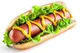 Hot dog with big sausage and salad isolated on white background - 142469649