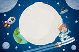 Astronaut cartoon boy flying in the space with a futuristic rocket skate board. - 142470476