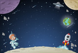 Astronaut cartoon boy flying in the space with a futuristic rocket shuttle. Spaceship around the earth planet and moon.