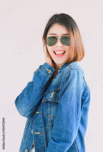 02db048bbd Asian woman casual outfits standing in jeans and blue denim shirt ...