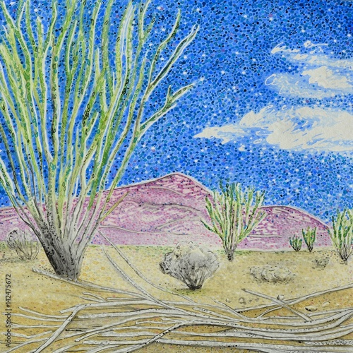 Ocotillo Patch Joshua Tree National Park Painting