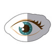 Постер, плакат: sticker cartoon human female eye with eyelash vector illustration
