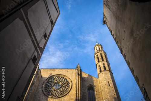 Poster Santa Maria del Mar church in Born quarter in Barcelona