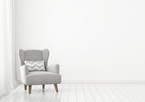 Simple livingroom interior wall mock up with grey armchair near window on clear white background. 3D rendring. - 142489486