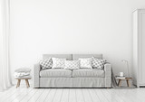 Fototapety Scandinavian style livingroom interior with grey sofa and pilllows on neutral white wall background. 3D rendering.