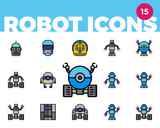 Robot Icons 3 Of 4 Ultra Color  Wall Sticker