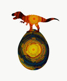 Dinosaur and egg with abstract pattern