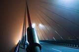 Fototapeta Fototapety mosty linowy / wiszący - Hanging rope bridge, dense fog. © Aneta