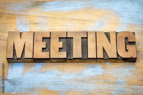 Billede meeting word in letterpress wood type