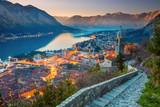Kotor, Montenegro. Beautiful romantic old town of Kotor during sunset. - 142516250