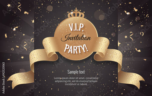 vip party premium invitation card poster flyer with curving ribbon black and golden design template
