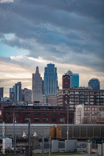 Poster Oceanië Kansas City MO downtown cloudy sunset