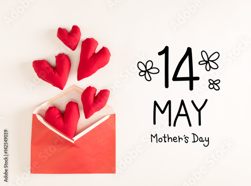 Poster Mother's Day message with red heart cushions