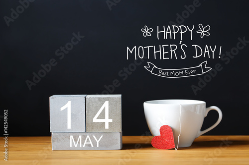Poster Mothers Day message with coffee cup