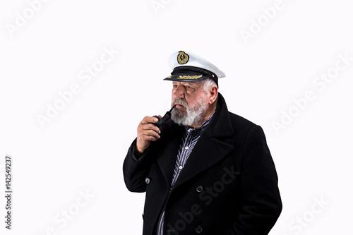 Poster Kapitän mit Pfeife und Mütze