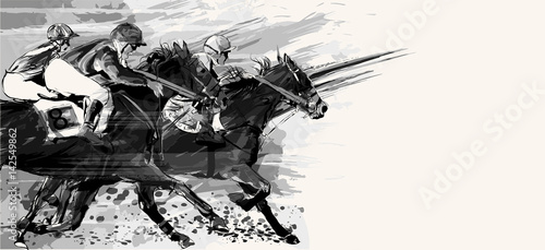 Foto op Canvas Art Studio Horse racing over grunge background