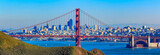 Panorama of the Golden Gate bridge and San Francisco skyline