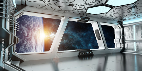 Foto op Canvas Spaceship interior with view on the planet Earth 3D rendering elements of this image furnished by NASA