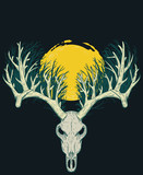 Skull of deer with thick horns in shape of forest and big yellow moon from above. Vector illustration in vintage retro style for covers, tattoos, stickers.