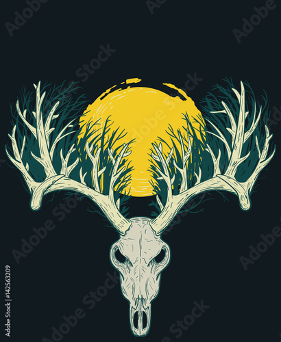 Fotobehang Hipster Hert Skull of deer with thick horns in shape of forest and big yellow moon from above. Vector illustration in vintage retro style for covers, tattoos, stickers.