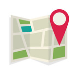Location map flat design vector icon - 142565491