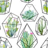 Watercolor vector cactus pattern - 142573885