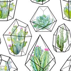 Watercolor vector cactus pattern