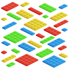Isometric building block, toy kids bricks vector set